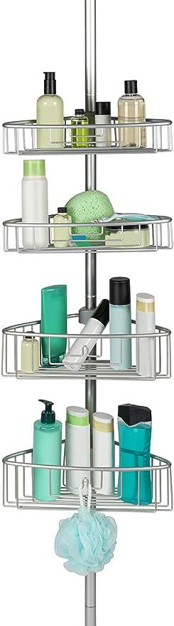 Estantería telescópica para ducha, con 4 cestas regulables, altura máx. de aprox. 270 cm, De aluminio