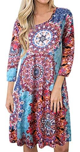 (Summer Tshirt Dresses for Women Beach Sundresses Boho Casual 3/4 Sleeve Floral Shift Pockets Swing Loose Damask Sky Blue)