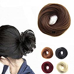 FESHFEN Scrunchy Scrunchie Hairpieces Elastic Messy Hair Bun Ponytail Hair Extensions Wig Drawstring-8# Medium Chestnut Brown