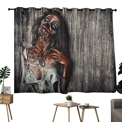 homecoco Zombie Grommets Curtains,Extra Darkening Curtains Angry Dead Woman Sacrifice Fantasy Design Mystic Night Halloween Image Drapes/Draperies Dark Taupe Peach Red W63 x L72 -
