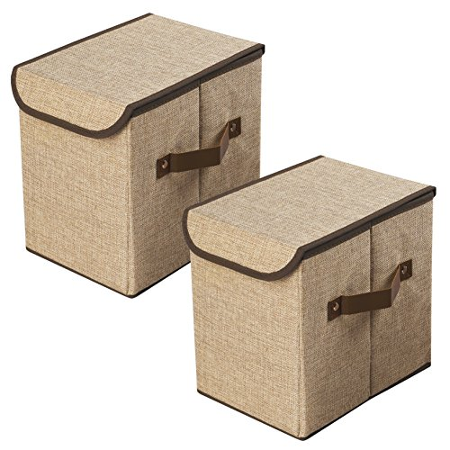 LightBiz Household Decorative Collapsible Jute Storage Box Drawer with Lids, 2 Pack, Khaki