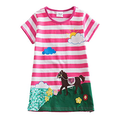 Jxs Neat Girls Short Sleeve Cotton Unicorn Dresses Kids Clothes Embroidered Spring Girl Kids Clothes Kids Dresses for Girls Costumes for 1 Years - 6 Years AS6499 (5T, Red)