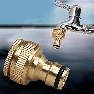 Carole4 Expert Brass Thread Connector Garden Hose Tap Connector, 3/4