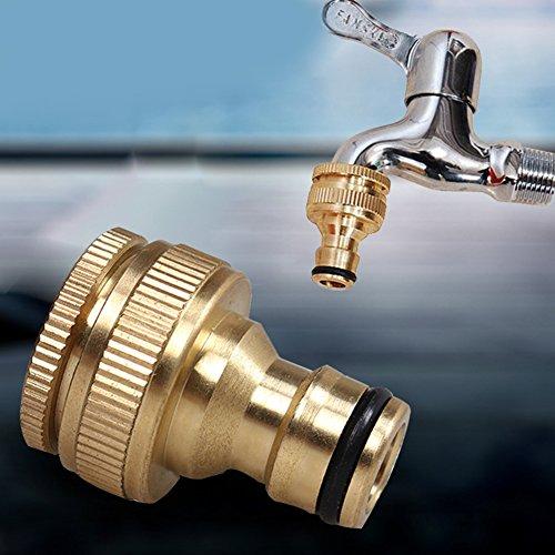 Carole4 Expert Brass Thread Connector Garden Hose Tap Connector, 3/4