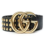 Gucci Belt Marmont GG Studded Black Leather Gold Size 90 cm Italy Only 1 New