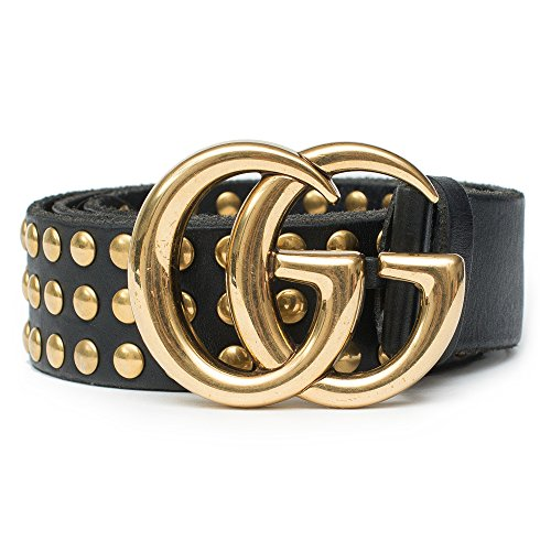 Gucci Belt Marmont GG Studded Black Leather Gold Size 90 cm Italy Only 1 New by Gucci