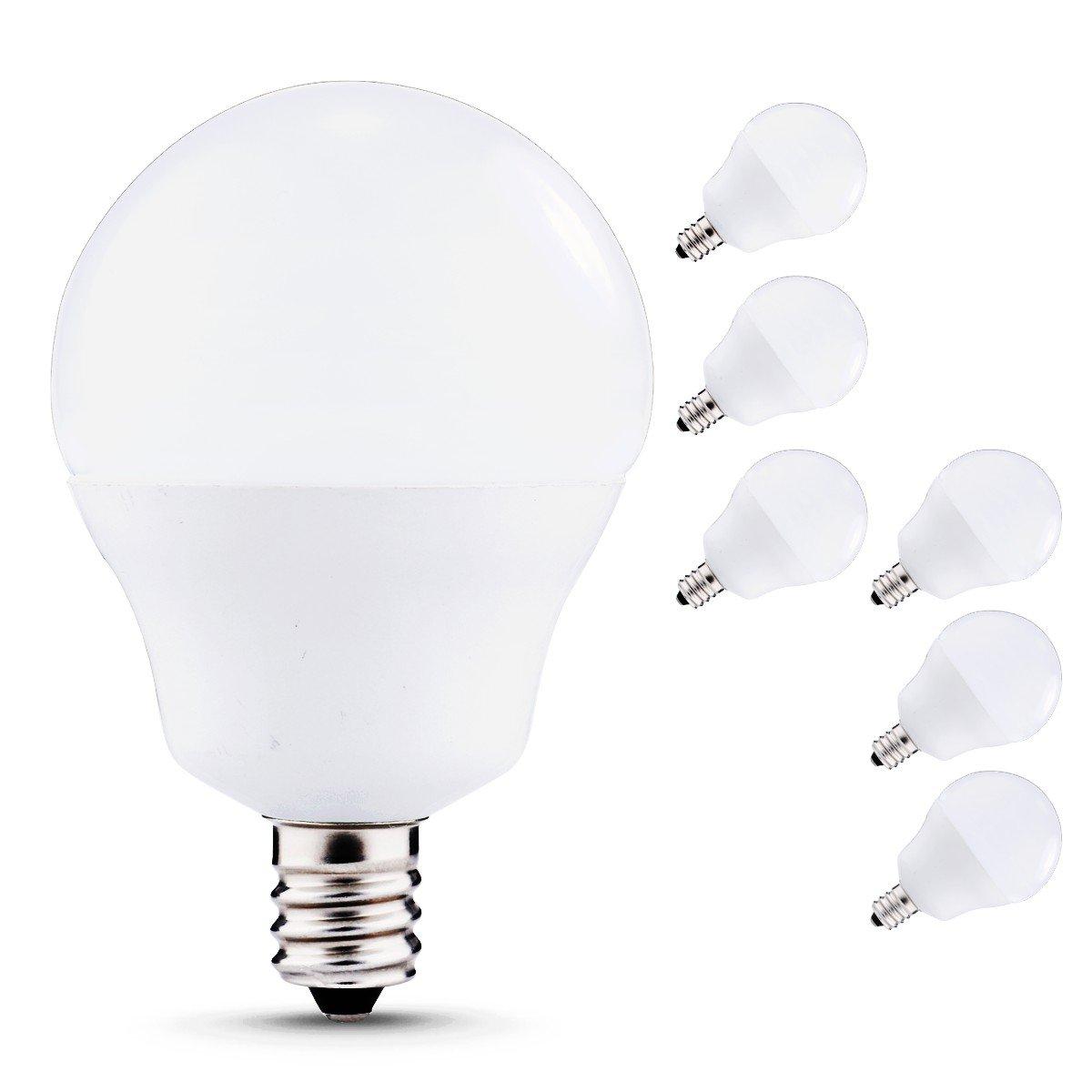 LED Light Bulbs Candelabra Base 40W Equivalent, JandCase 5W, 450lm, Natural Daylight White 4000K, G14 LED Globe Bulbs for Ceiling Fan, Vanity Mirror Light, E12 Base, 6 Pack