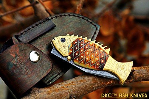 DKC Knives (12 7/18) DKC-593 SUN FISH Mouth Open Bass Trout Fishing Pocket Folding Damascus Hunting Knife Brass & Bone Folded 9.5oz 4.5