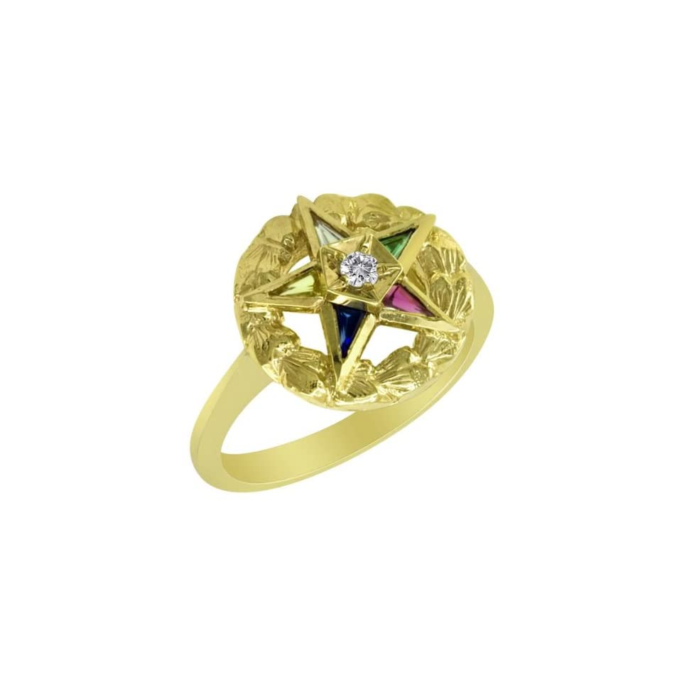 10k Yellow Gold Diamond Eastern Star Ring