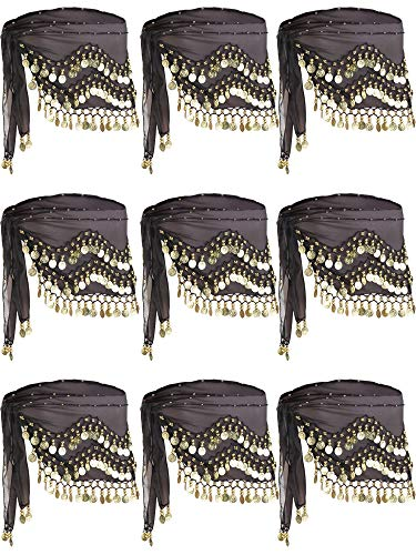 Zhanmai 9 Pack Black Belly Dance Hip Scarf with Gold Coins Skirts Wrap -