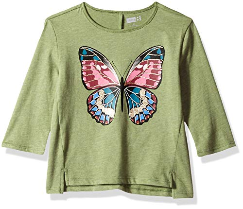 Crazy 8 Girls' Big 3/4 Sleeve Graphic Tee, Olive Butterfly, 5T]()