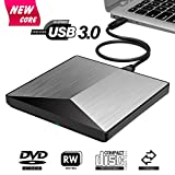 External DVD Drive, BOSLISA USB 3.0 CD DVD +/-RW Burner Rewriter Player, Optical Superdrive High Speed Data Transfer for Laptop MacBook Desktop Computer Compatable for Windows10 /8/7/Mac OS (Silver)