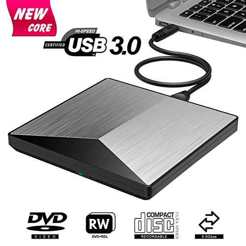PC Hardware : External DVD Drive, BOSLISA USB 3.0 CD DVD +/-RW Burner Rewriter Player, Optical DVD Superdrive High Speed Data Transfer for Laptop Macbook Desktop Computer Support for Windows10 /8/7/Mac OS (Silver)