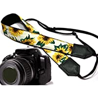 Sunflower design camera strap. Yellow blossoms camera strap. Yellow flowers DSLR / SLR Camera Strap. Durable, light weight and well padded camera strap. code 00138