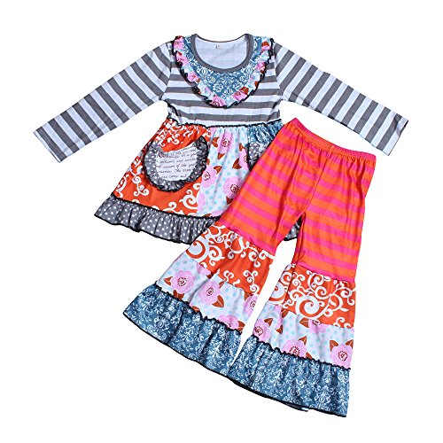 Yawoo Haan Girls Boutique Outfits Party Ruffle Dress Pants Clothing Set B 4T (Little Girl Boutique)