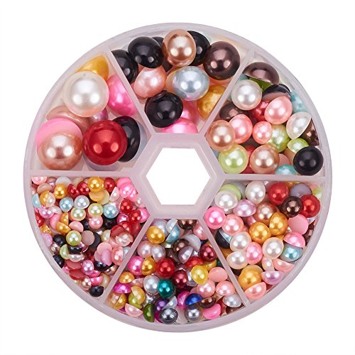 Necklace Acrylic Pearl (PandaHall Elite About 690 Pcs ABS Acrylic Half Round Flat Back Imitation Pearl Cabochon Diameter 4-12mm Mixed Colors for Jewelry Craft Making)