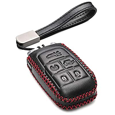 Vitodeco Genuine Leather Keyless Entry Remote Control Smart Key Case Cover with Leather Key Chain for 2020-2020 RAM 2500, 3500, 4500, 5500 (5-Button, Black/Red): Automotive