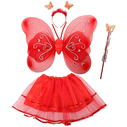 Acediscoball Girls' Butterfly Wings Fairy Dress up Costume Tutu Dress Headband Red