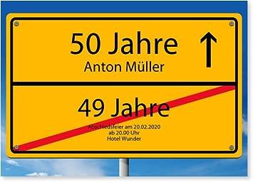 Einladungskarten 50. Geburtstag, Ortsschild (30 Karten)