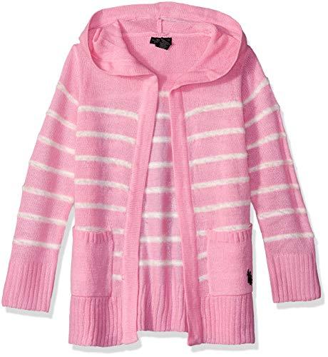 (U.S. Polo Assn. Girls' Big Cardigan Sweater, Striped Hooded Light Pink, 14/16)
