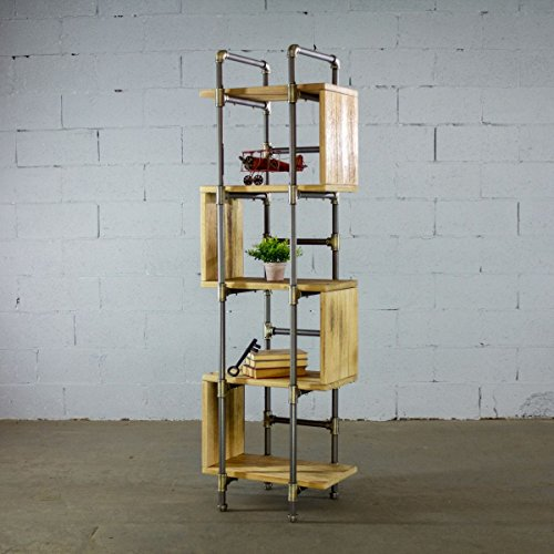 Modern Etagere - Furniture Pipeline Tucson Modern Industrial Etagere Solid Wood Free Standing Storage Shelves Display Bookcase (Natural Stained Wood)