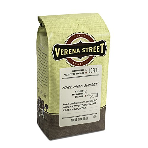 (Verena Street 2 Pound Whole Bean Coffee, Dark Roast, Nine Mile Sunset, Rainforest Alliance Certified Arabica Coffee)