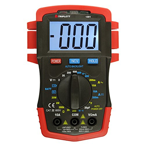 Multimeter Digital Compact (Triplett 1301 Compact Digital Multimeter with Backlit LCD, 22 Measurement Ranges)