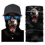 Glumes Face Mask Half Sun Dust Protection|Vivid 3D Animal Tube Mask Seamless|Durable Face Mask|Bandana Skeleton Face Shield|Motorcycle Fishing Hunting Cycling Halloween Party (J)