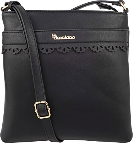 B BRENTANO Vegan Medium Crossbody Handbag Purse (Black(N))