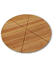 Checkered Chef Pizza Cutting Board - Round Wooden Chopping Board with Grooves to Slice and Portion Your Pizza - Reversible Round Cutting Board - Cheese Board
