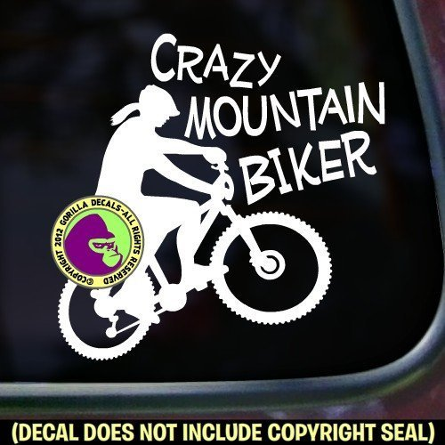 CRAZY MOUNTAIN BIKER FEMALE Vinyl Decal Sticker D
