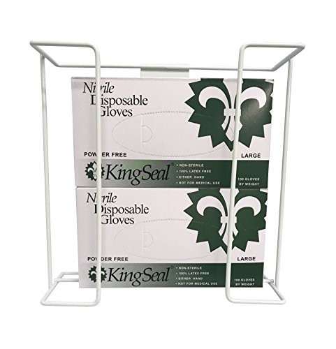 Disposable Glove 2-Box Wire Rack, Wall Mounted Double Box Holder - 1 Double Rack for Larger Sized Boxes only ()
