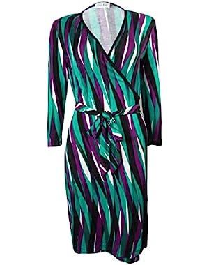 Calvin Klein Women's Surplice Belted 3/4 Sleeves Faux Wrap Dress
