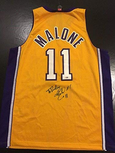Karl Malone Lakers Jazz Hof Autographed Signed Xl Basketball Jersey PSA DNA  Sticker Only - a7875f8c3