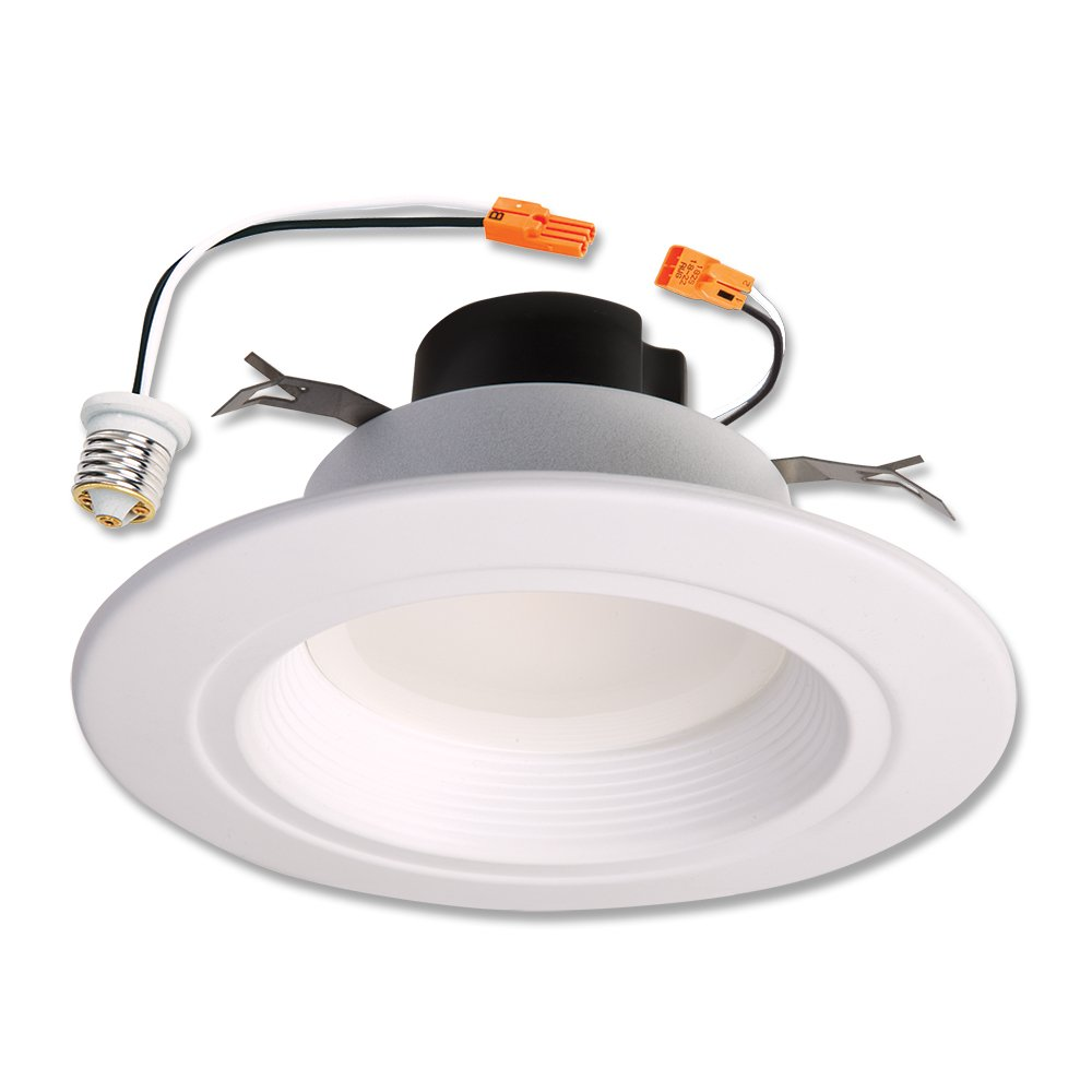 Halo RL560WH6935 RL 5 in. and 6 in. Matte White Integrated LED Recessed Retrofit Downlight Trim, 600 Lumens, 90 CRI, 3500K Bright White