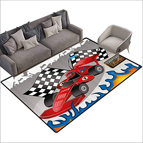 Designed Kitchen Bathroom Floor Mat Colorful Kids Decor,Race Car with Finish Line Flags Pilot and Flames with Abstract Gray Background,Multicolor 80