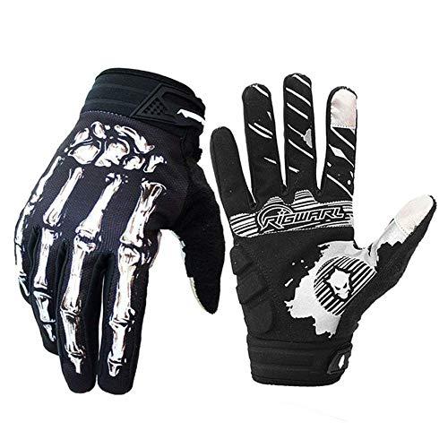 Cycling Gloves for Men Women, Bike Gloves with Shock-Absorbing Gel Pad, Anti-Slip & Touchscreen, Motorcycles Riding, MTB, Road Bike Skeleton Bones Gloves (New White, L(Palm Width 3.62''-3.9''))