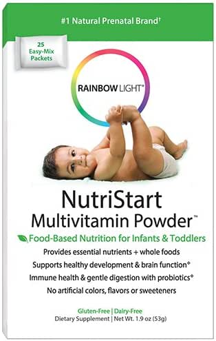 Rainbow Light - NutriStart Multivitamin Powder, Nutritious Support for Growing Infants and Toddlers with Choline and Vitamins D3, K and C, Vegetarian, Gluten-Free, 6 Months to 4 Years Old, 25 Packets