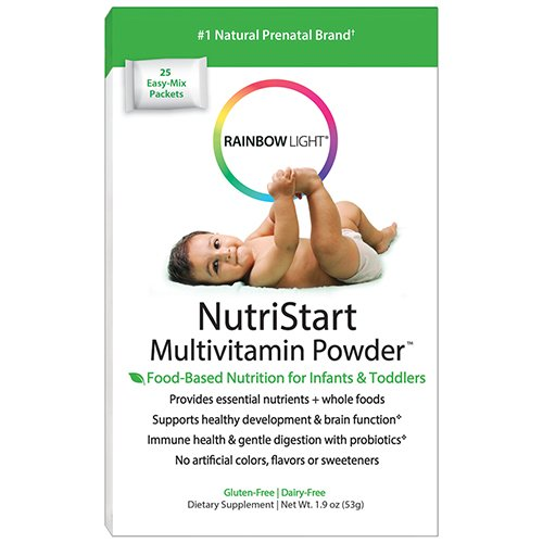 Rainbow Light - NutriStart Multivitamin Powder, Nutritious Support for Growing Infants and Toddlers with Choline and Vitamins D3, K and C, Vegetarian, Gluten-Free, 6 Months to 4 Years Old, 25 Packets ()