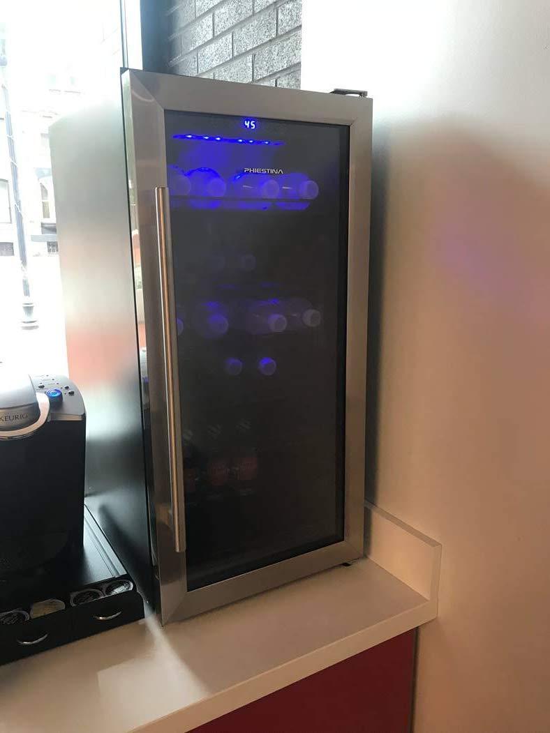 Phiestina PH-CBR100 106 Can Compressor Beverage Cooler Stainless Steel & Glass Door with Handle