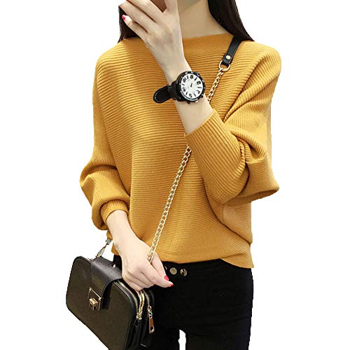 Ckikiou Women Jumpers Knitwear Cashmere Casual Batwing Warm Winter Sweaters Pullovers Yellow