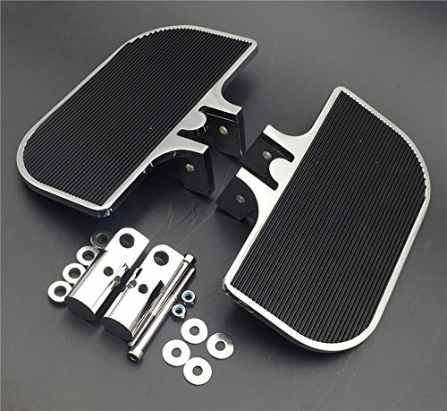 XKH Group Motorcycle Chrome Passenger Mini Floorboards Rear Footboards Foot Rest Pegs Mounts Fit Harley Davidson Electra Glide Heritage Softail Fat Boy Harley Fat Boy