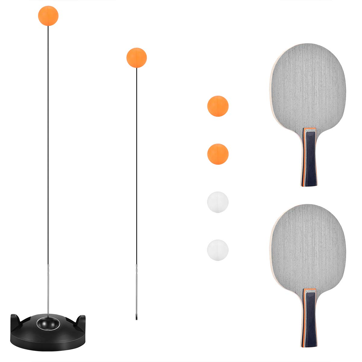 Table Tennis Trainer with Elastic Soft Shaft, Leisure Decompression Sports 2 Table Tennis Paddle & 4 Ping Pong Balls, Set Table Tennis Trainer Indoor or Outdoor Play by PaulGolf
