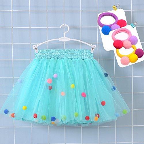Bingoshine 4 Layers Soft Tulle Puff Ball Girls Tutu Skirts with Silky Lining (Aqua Green, XL,7-8Years) -