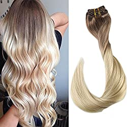 """[Full Head Set]Full Shine 22"""" 7 Pieces per Set 120 Gram Remy Human Hair Clip in Weft Hair Extensions Colour #6 And Colour #613 Blonde Ombre Clip in Coloured Hair Extensions"""