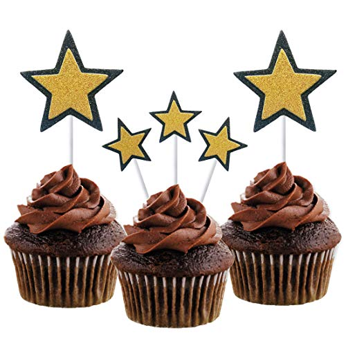 Morndew 20PCS Black Edge Golden star Cupcake Toppers for Birthday Party Baby Shower Kids Party Wedding Party Decorations]()
