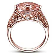 HIRIRI Hot Sale 2018 New Women Jewelry Gift Gemstone Ring Rose Gold Wedding Engagement Ring (7,...