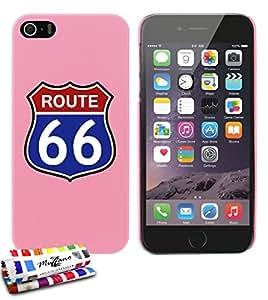Carcasa Rigida Ultra-Slim APPLE IPHONE 5S / IPHONE SE de exclusivo motivo [Highway 66] [Rosa] de MUZZANO  + ESTILETE y PAÑO MUZZANO REGALADOS - La Protección Antigolpes ULTIMA, ELEGANTE Y DURADERA para su APPLE IPHONE 5S / IPHONE SE