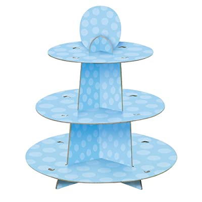 Light Blue Cardboard Cupcake Stand: Kitchen & Dining