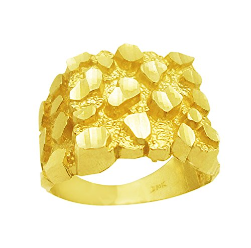 AMZ Jewelry Mens 10k Yellow Gold Nugget Ring (Yellow Ring Nugget Gold)
